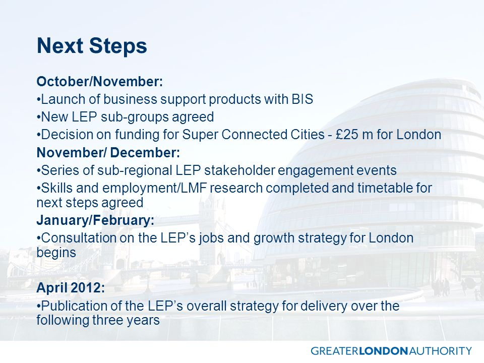 Next Steps October/November: