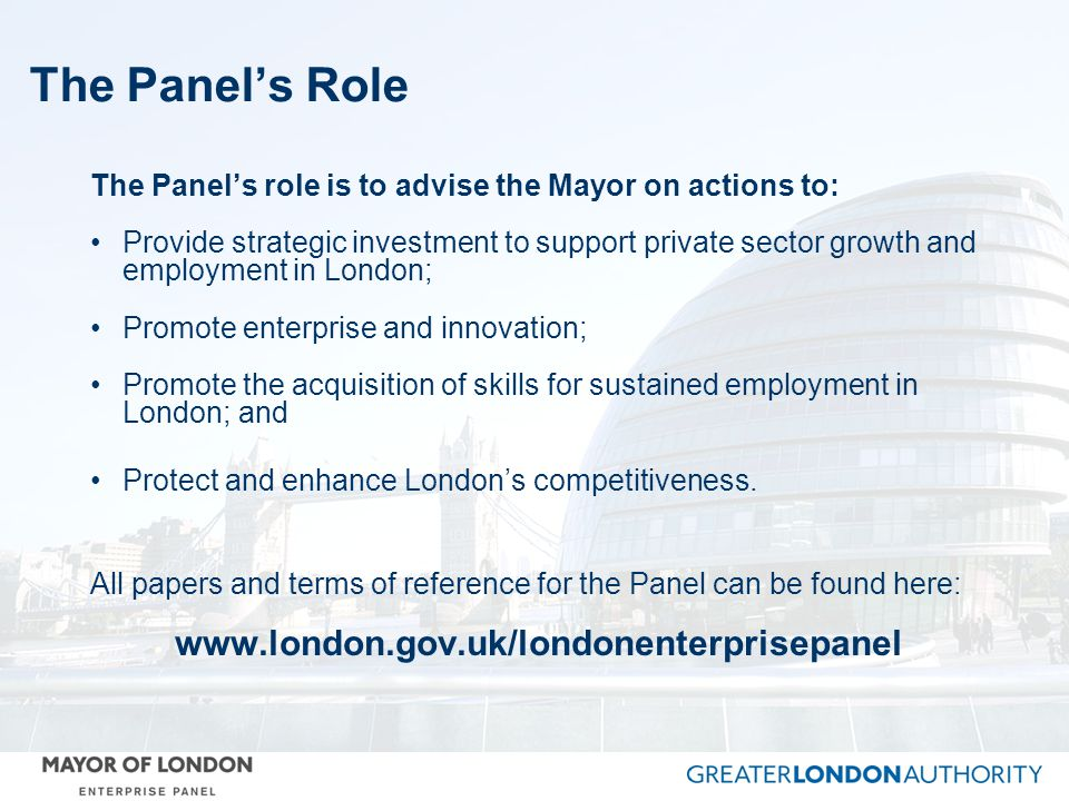 The Panel's Role www.london.gov.uk/londonenterprisepanel
