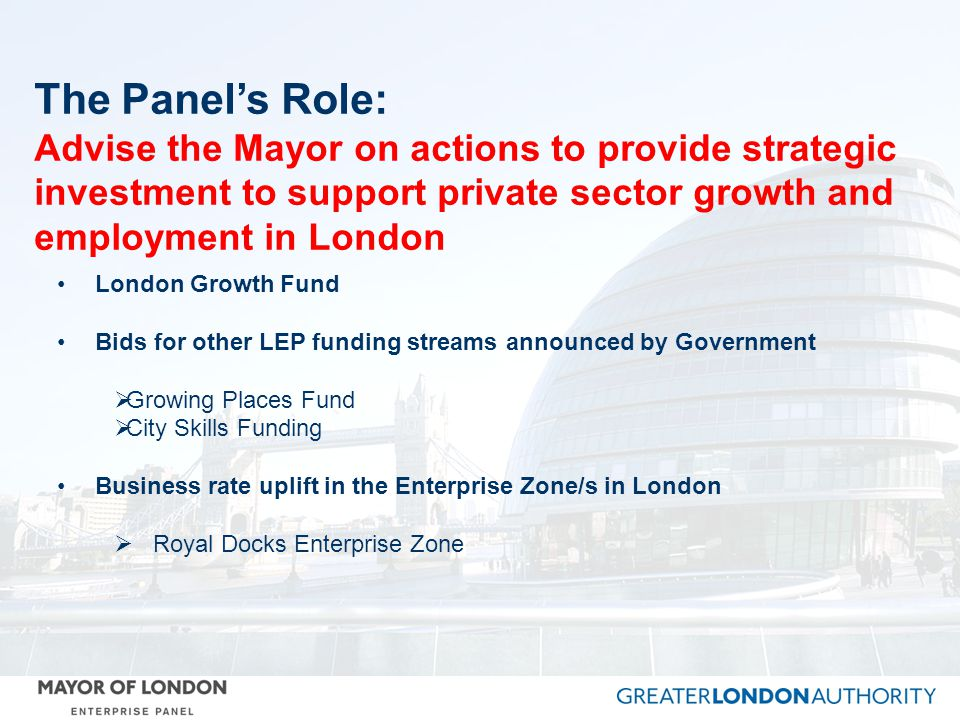 The Panel's Role: Advise the Mayor on actions to provide strategic investment to support private sector growth and employment in London