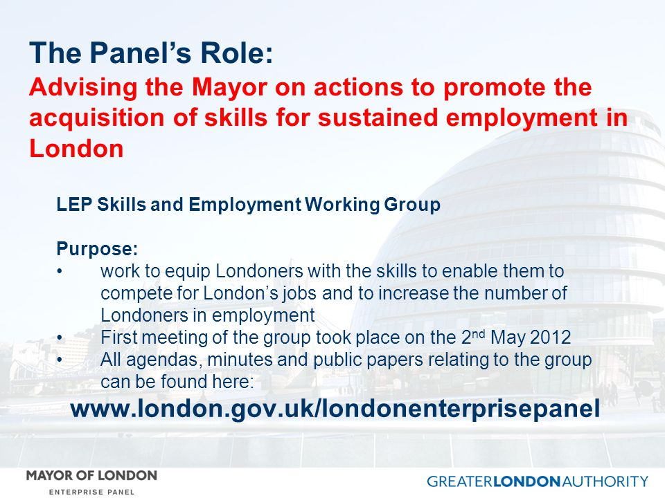 The Panel's Role: Advising the Mayor on actions to promote the acquisition of skills for sustained employment in London