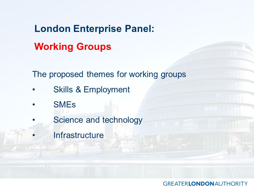 London Enterprise Panel: Working Groups