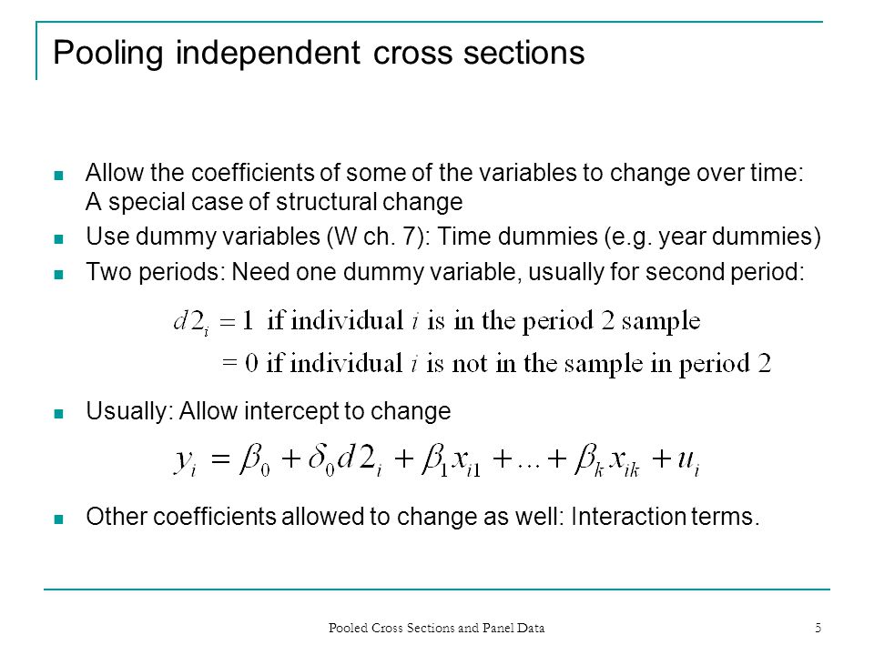Pooling independent cross sections