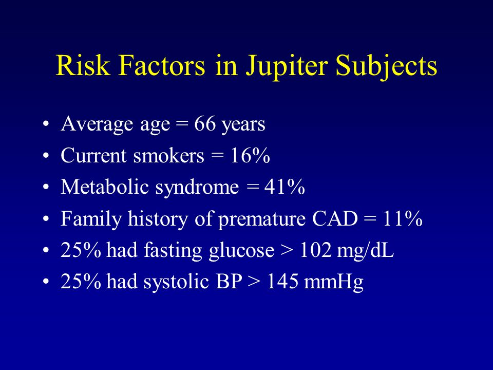 Risk Factors in Jupiter Subjects
