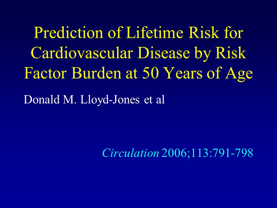 Prediction of Lifetime Risk for Cardiovascular Disease by Risk Factor Burden at 50 Years of Age