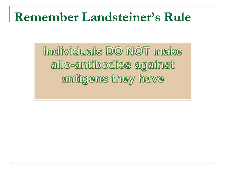 Remember Landsteiner's Rule