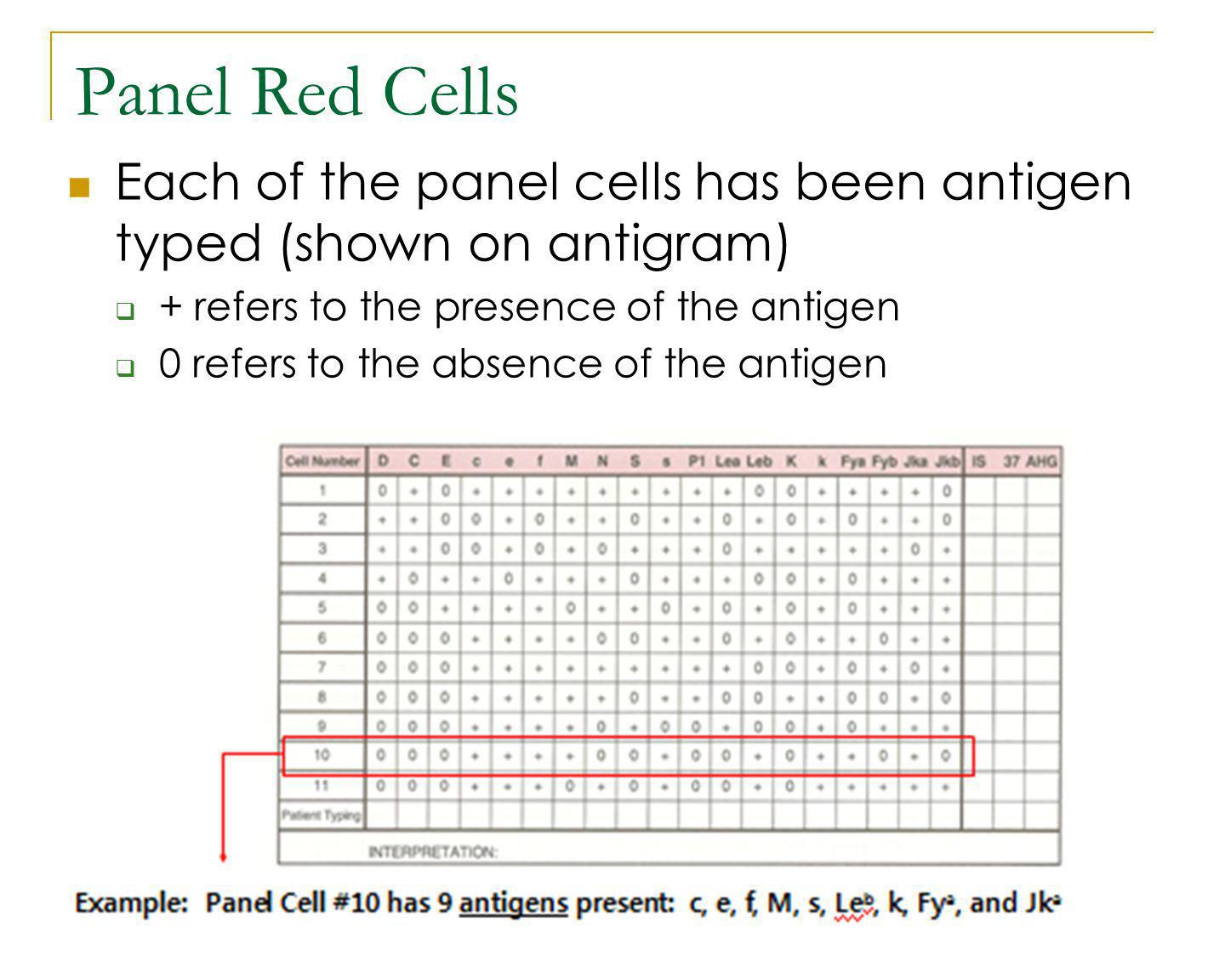 Panel Red Cells Each of the panel cells has been antigen typed (shown on antigram) + refers to the presence of the antigen.