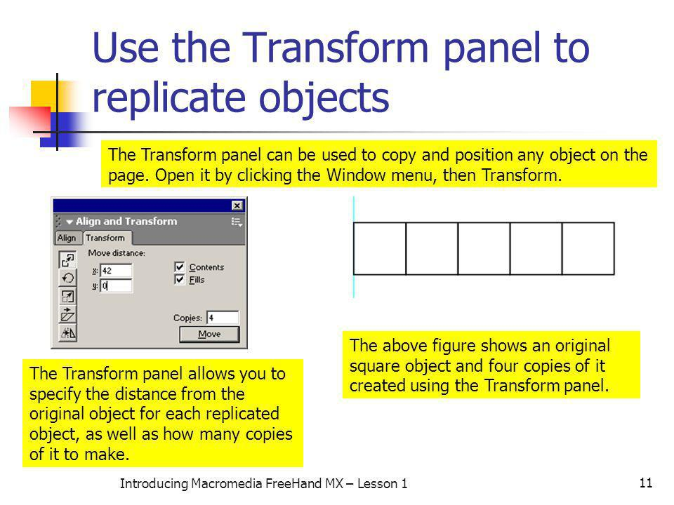 Use the Transform panel to replicate objects