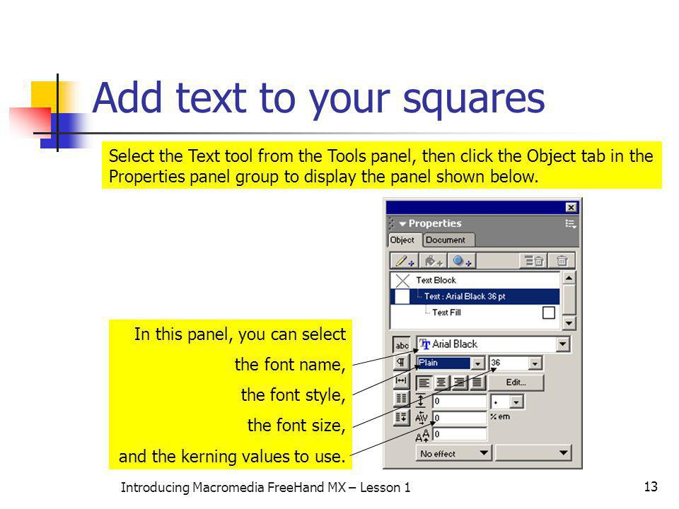 Add text to your squares