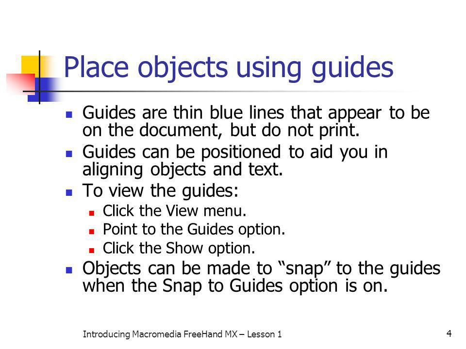 Place objects using guides