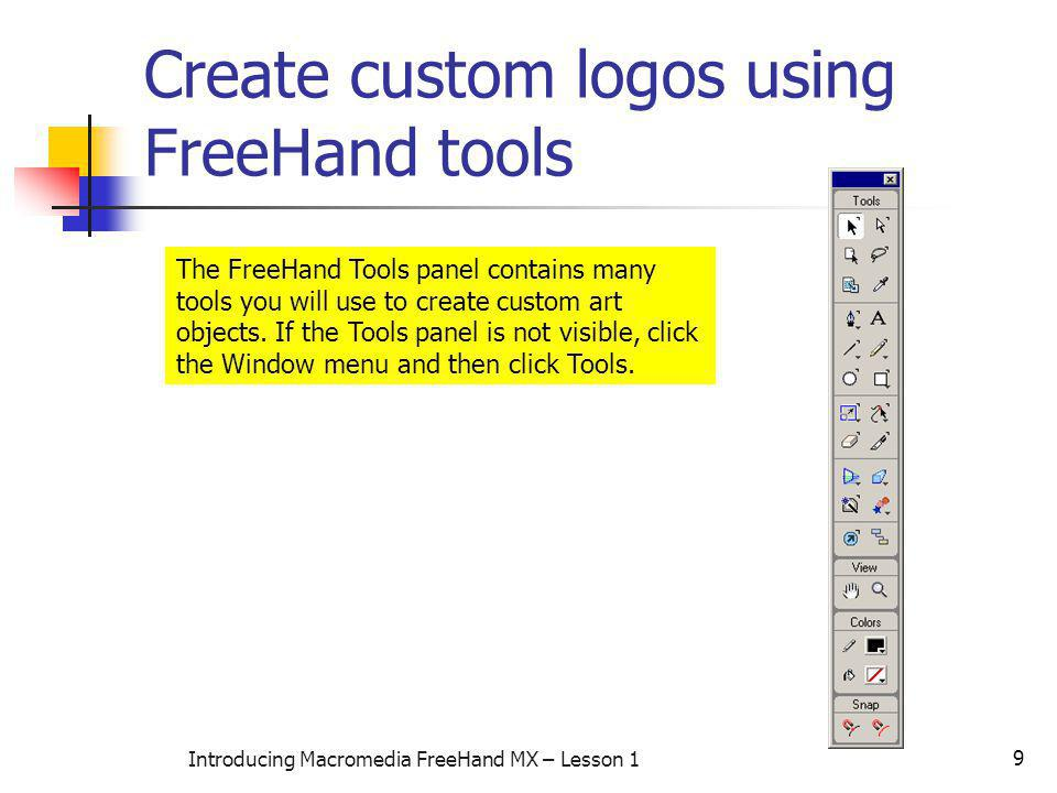 Create custom logos using FreeHand tools