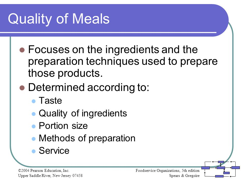 Quality of Meals Focuses on the ingredients and the preparation techniques used to prepare those products.