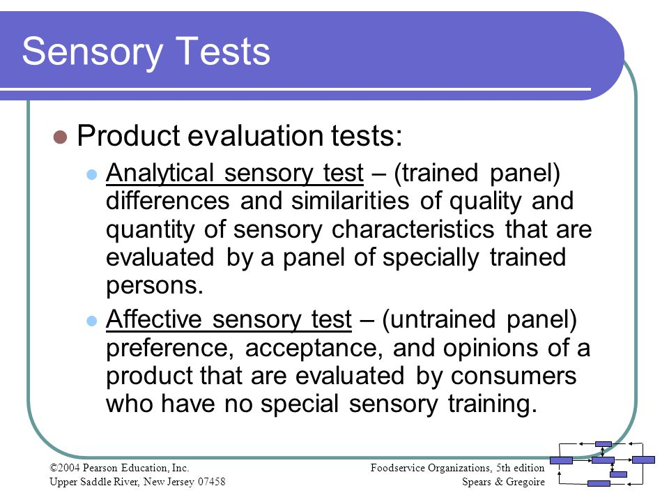 Sensory Tests Product evaluation tests: