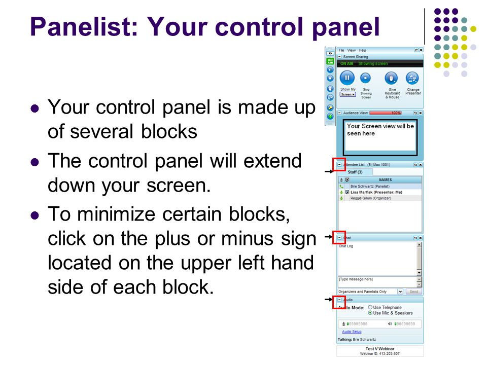 Panelist: Your control panel