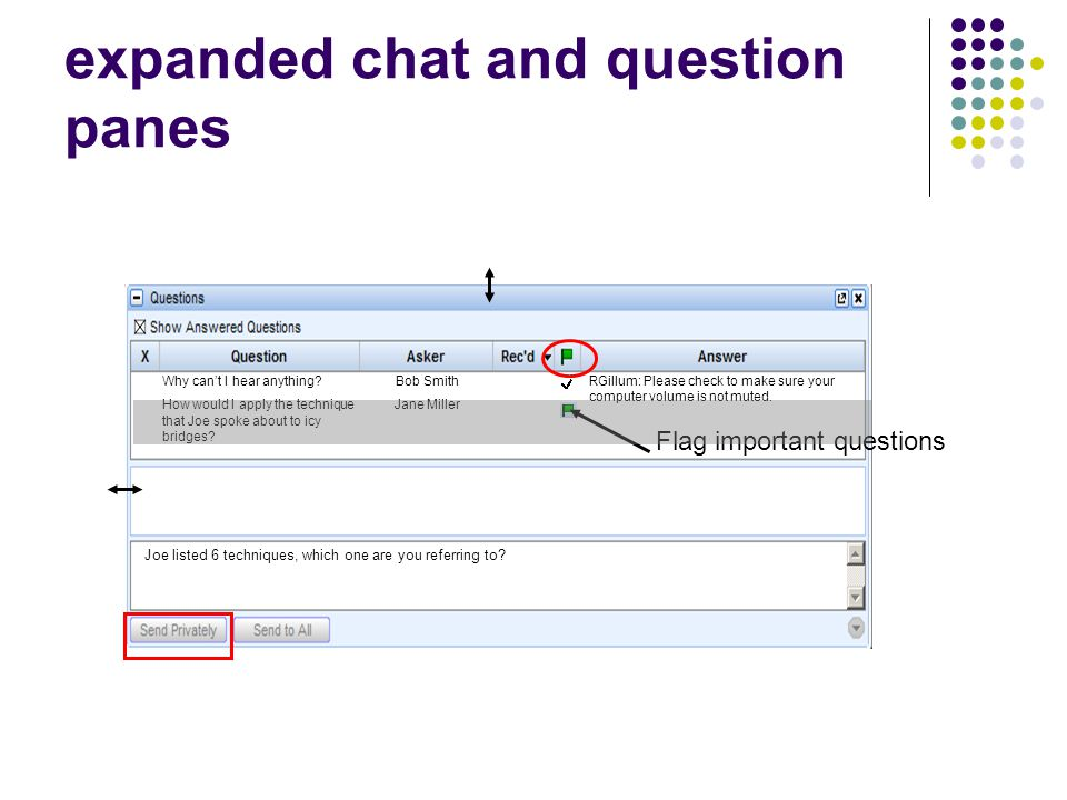 expanded chat and question panes