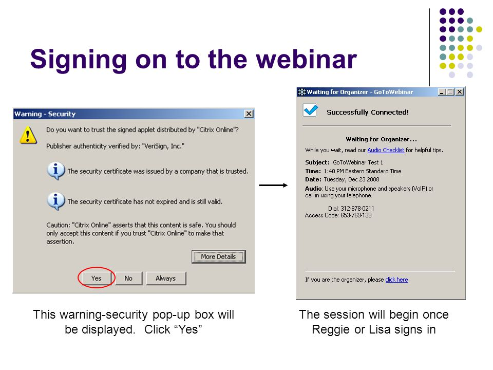 Signing on to the webinar