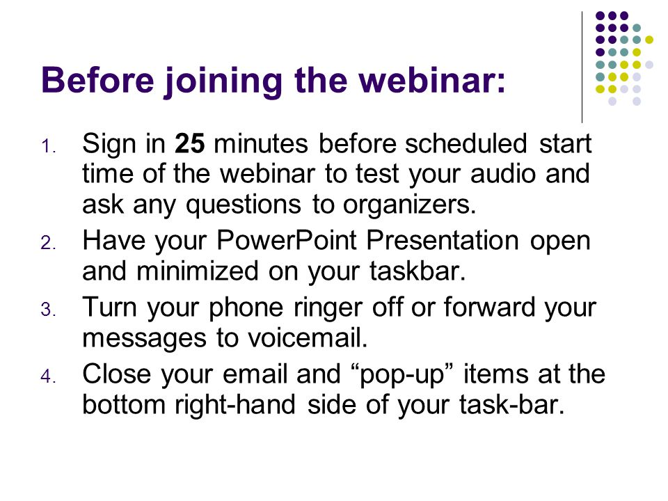 Before joining the webinar: