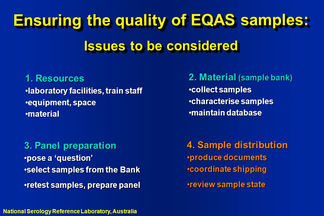 Ensuring the quality of EQAS samples: Issues to be considered