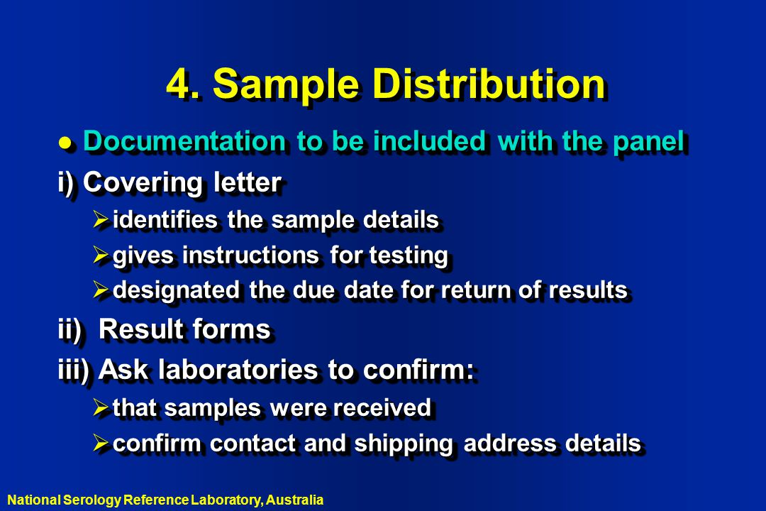 4. Sample Distribution Documentation to be included with the panel