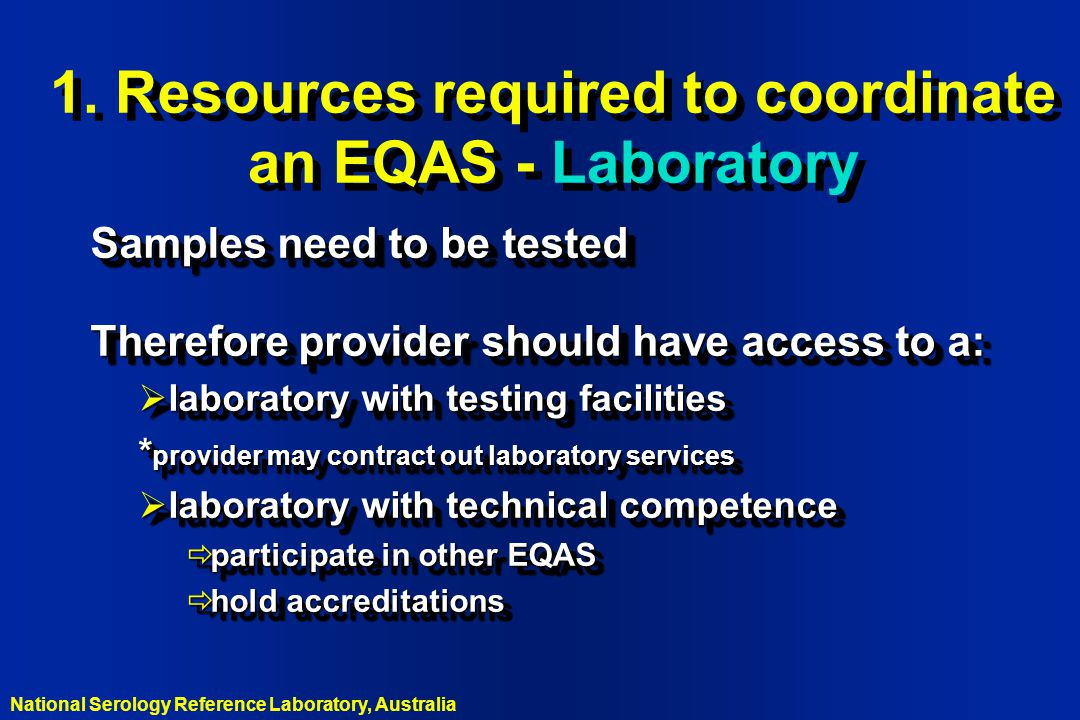 1. Resources required to coordinate an EQAS - Laboratory