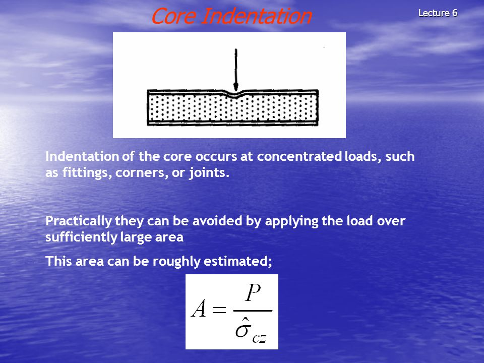 Core Indentation Lecture 6. Indentation of the core occurs at concentrated loads, such as fittings, corners, or joints.