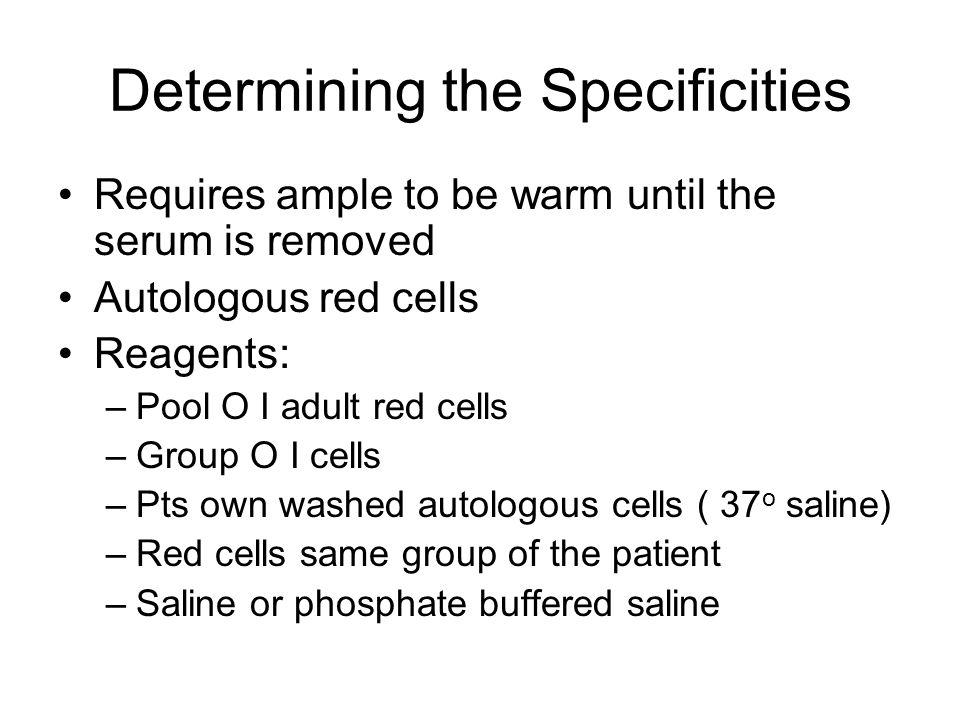 Determining the Specificities