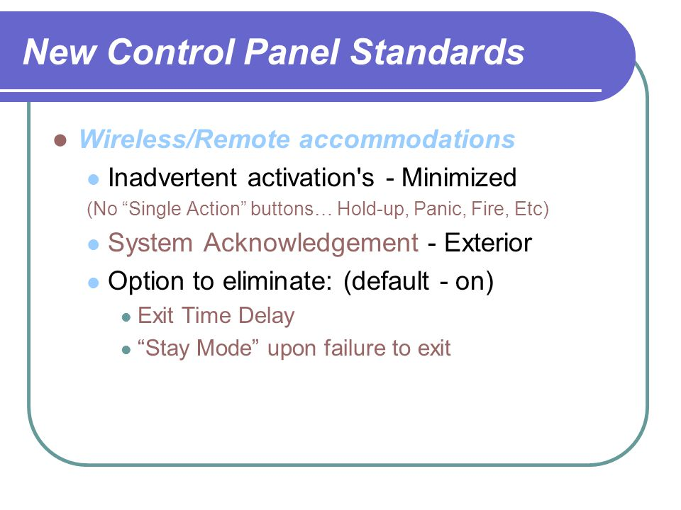 New Control Panel Standards