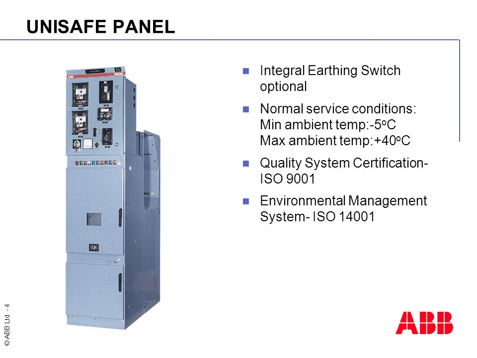 UNISAFE PANEL Integral Earthing Switch optional