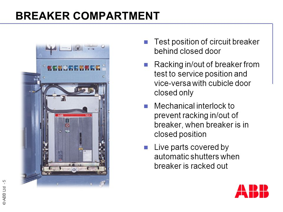 BREAKER COMPARTMENT Test position of circuit breaker behind closed door.