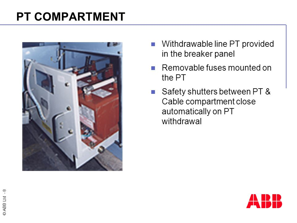 PT COMPARTMENT Withdrawable line PT provided in the breaker panel