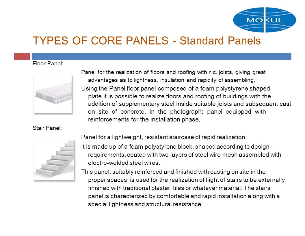 TYPES OF CORE PANELS - Standard Panels