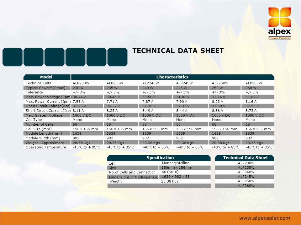TECHNICAL DATA SHEET Model Characteristics Specification