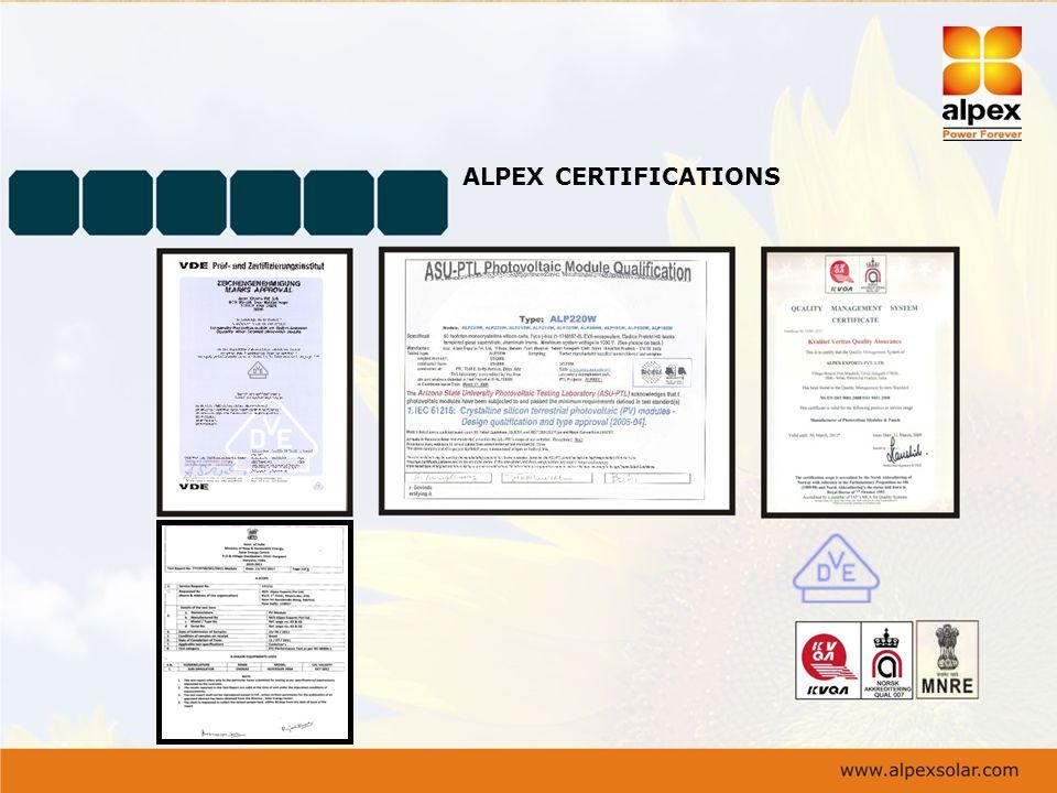 ALPEX CERTIFICATIONS