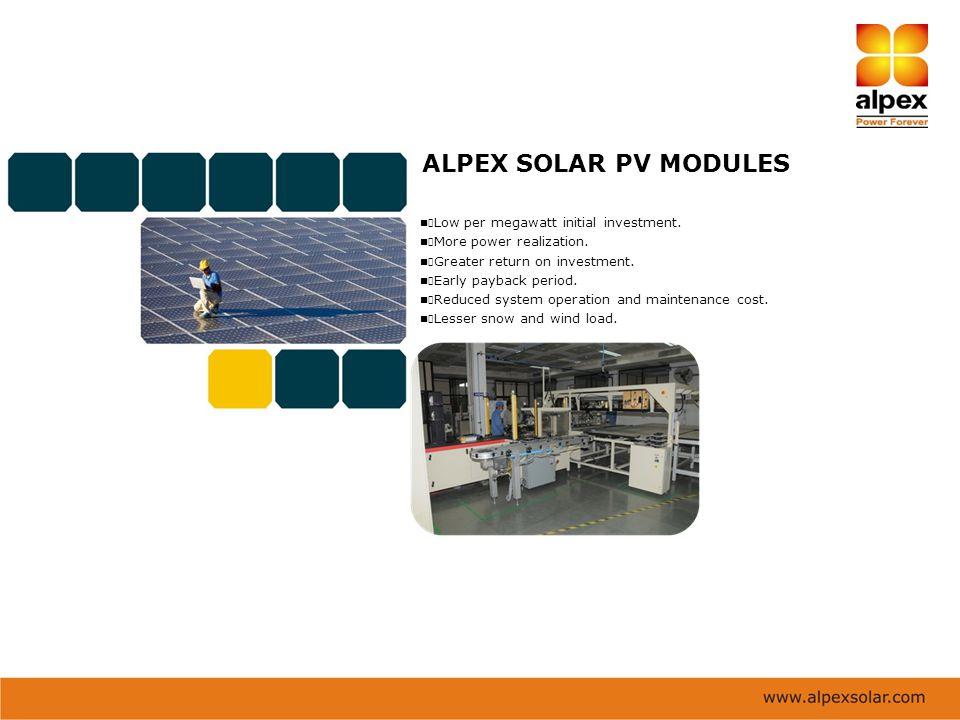 ALPEX SOLAR PV MODULES Low per megawatt initial investment.