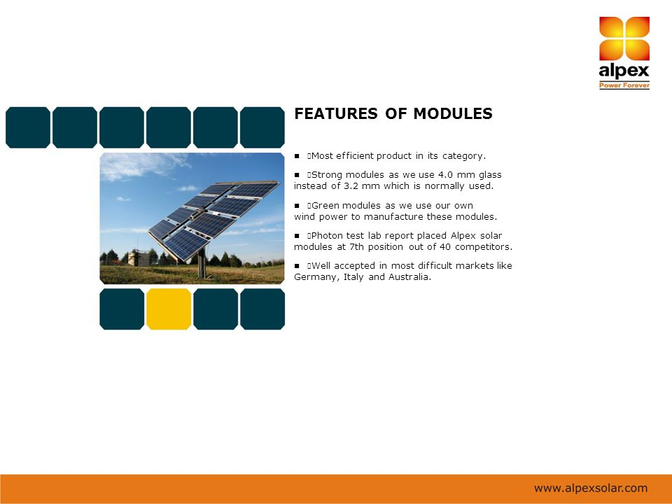 FEATURES OF MODULES instead of 3.2 mm which is normally used.
