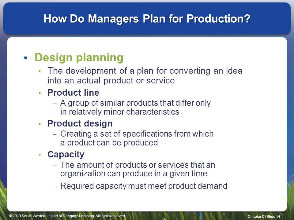 How Do Managers Plan for Production