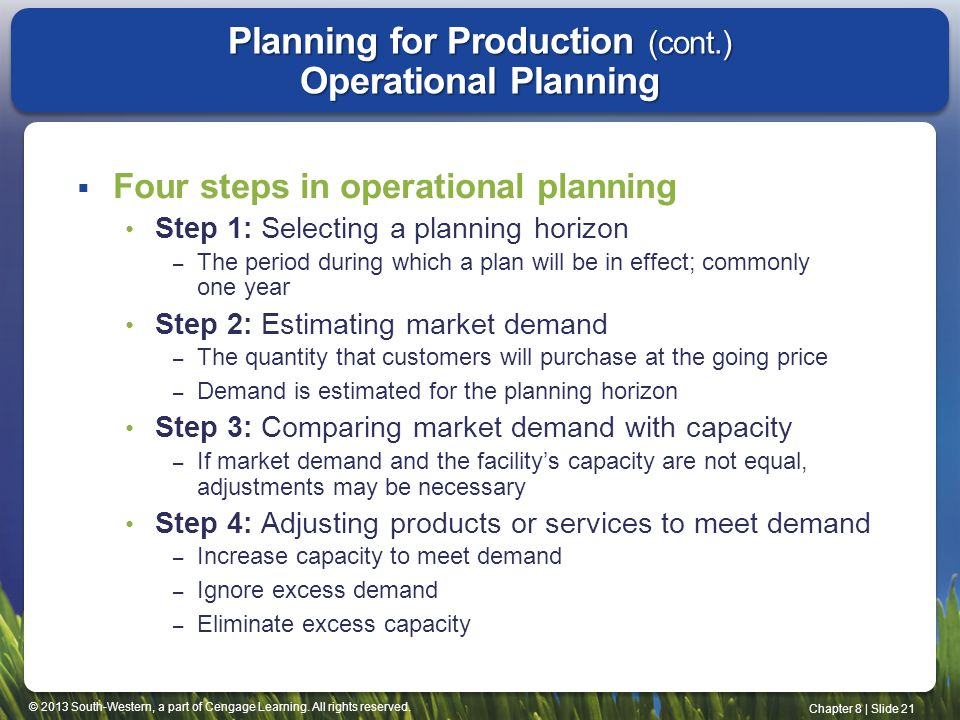 Planning for Production (cont.) Operational Planning