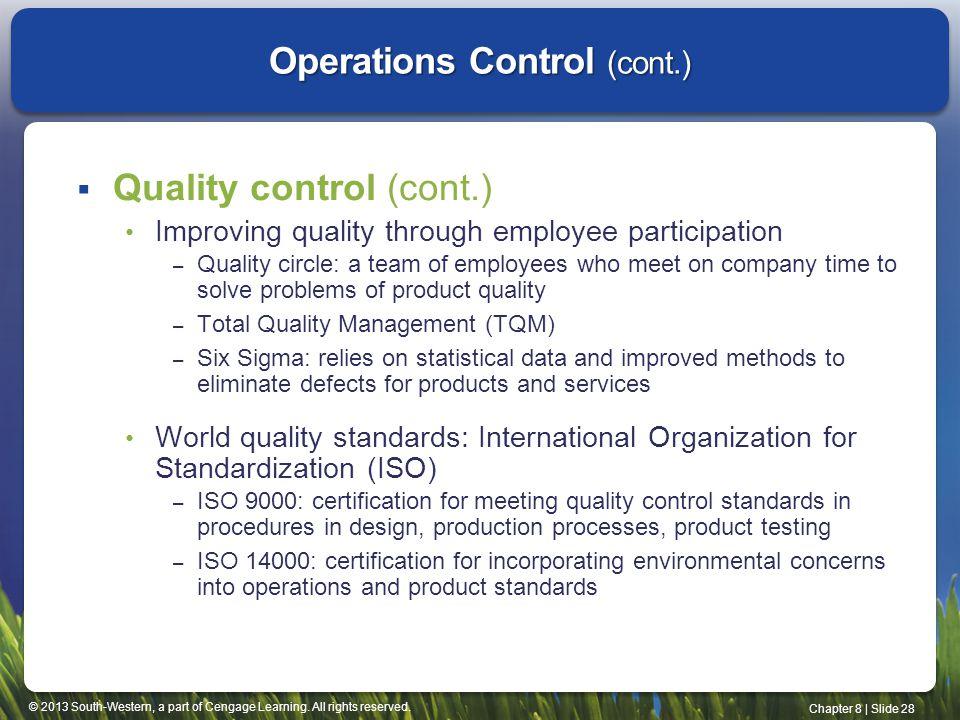 Operations Control (cont.)