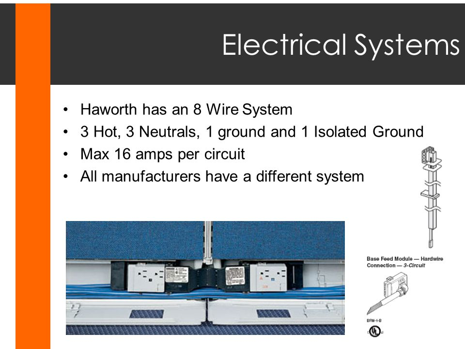 Electrical Systems Haworth has an 8 Wire System