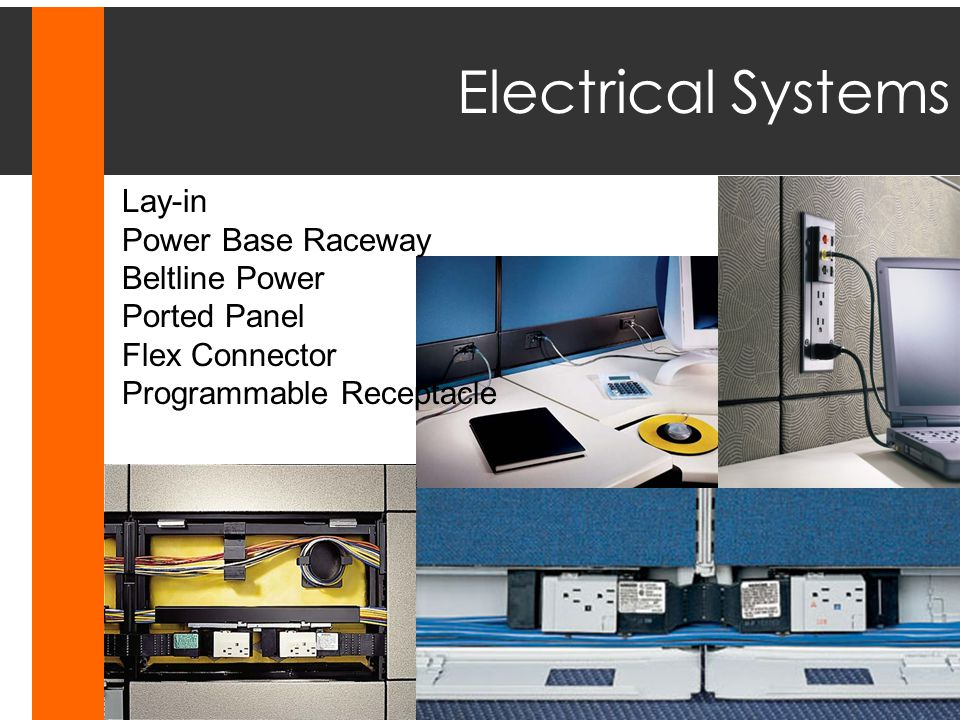 Electrical Systems Lay-in Power Base Raceway Beltline Power Ported Panel Flex Connector Programmable Receptacle.