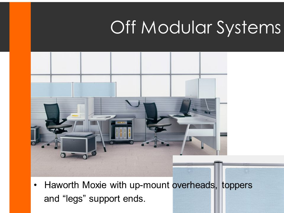 Off Modular Systems Haworth Moxie with up-mount overheads, toppers