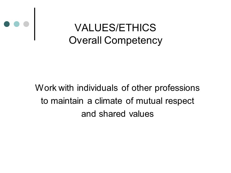 VALUES/ETHICS Overall Competency