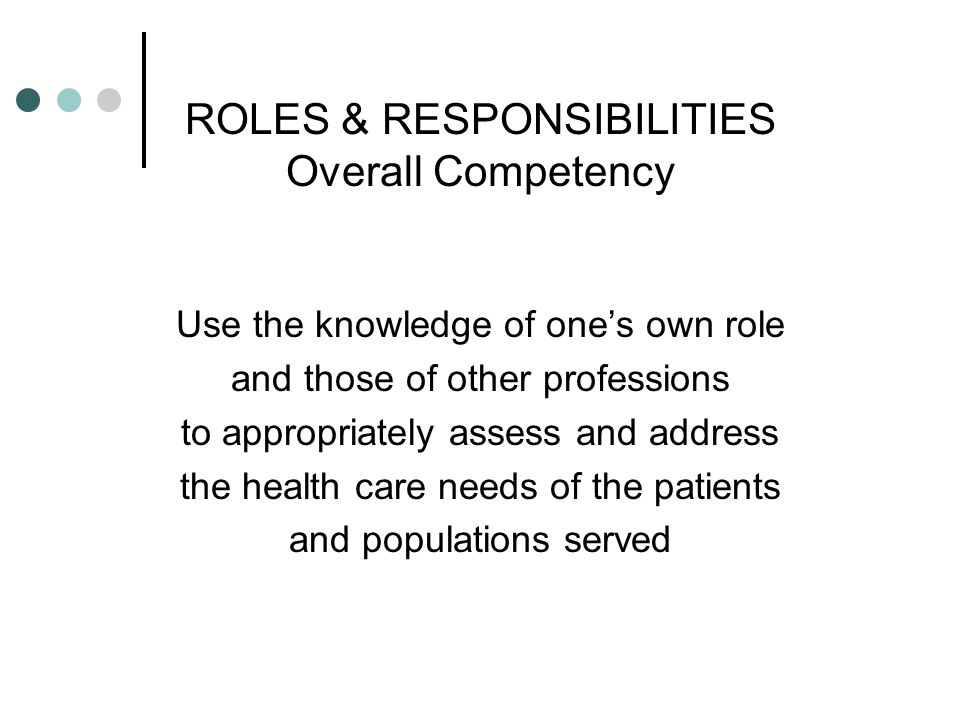 ROLES & RESPONSIBILITIES Overall Competency
