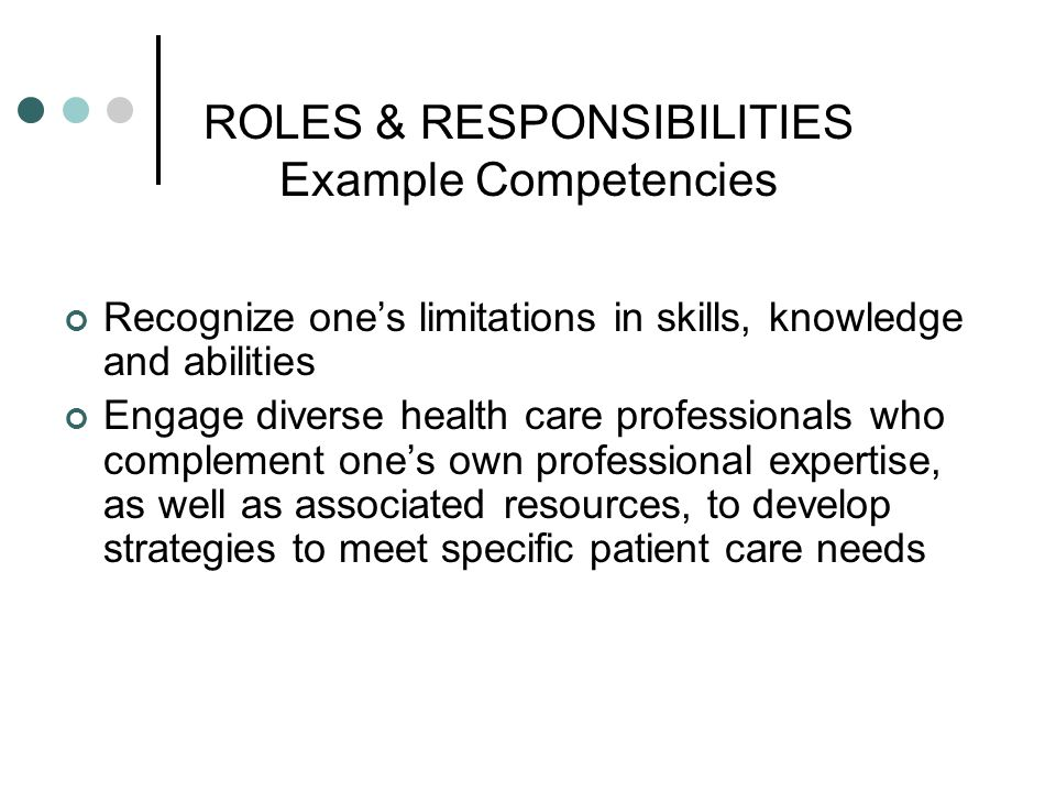 ROLES & RESPONSIBILITIES Example Competencies