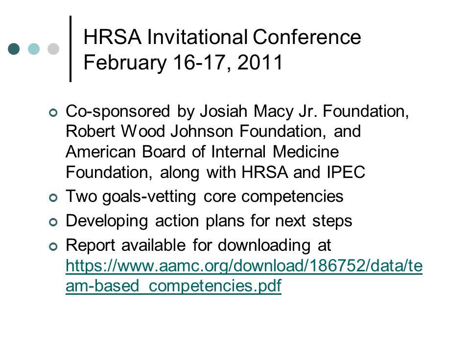 HRSA Invitational Conference February 16-17, 2011