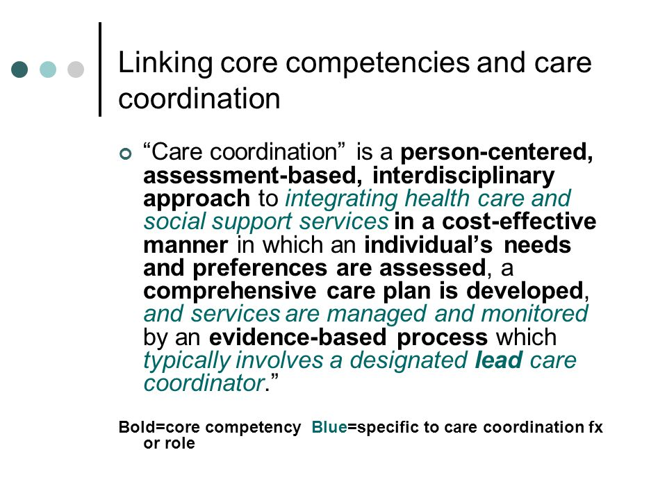 Linking core competencies and care coordination