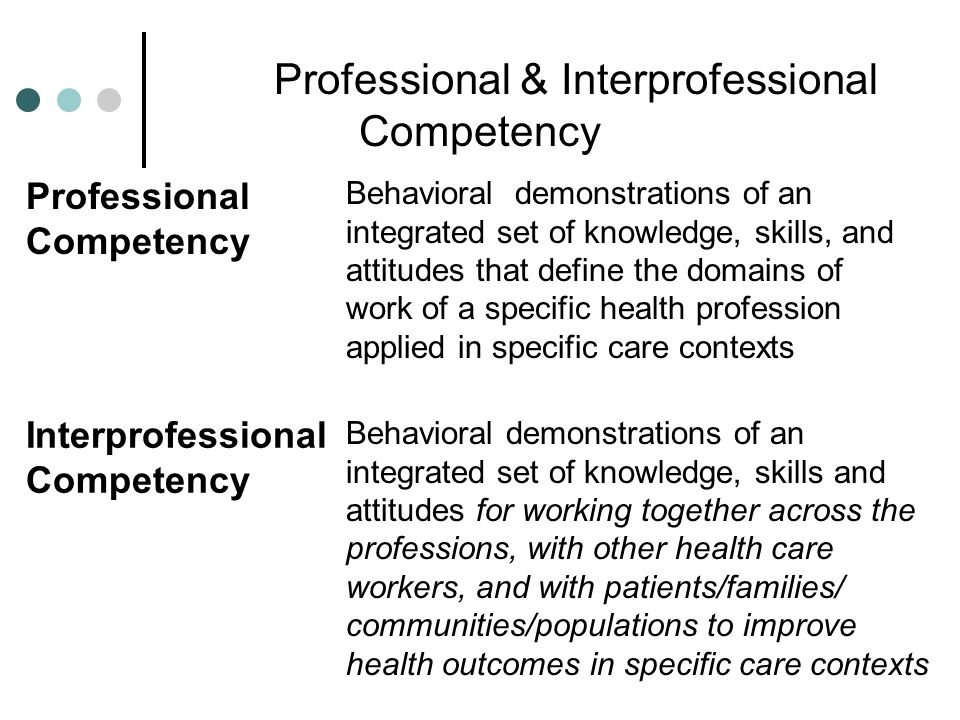 Professional & Interprofessional Competency