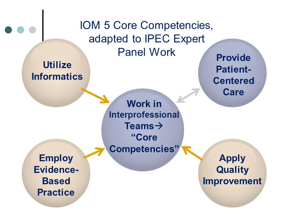 IOM 5 Core Competencies, adapted to IPEC Expert Panel Work Provide