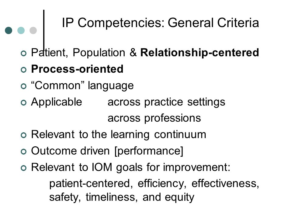 IP Competencies: General Criteria