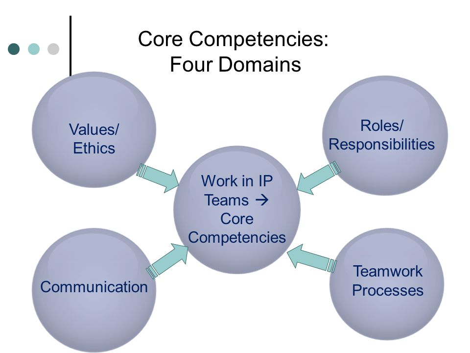 Core Competencies: Four Domains Roles/ Values/ Responsibilities Ethics