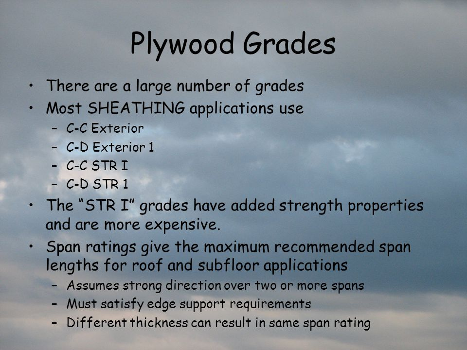Plywood Grades There are a large number of grades